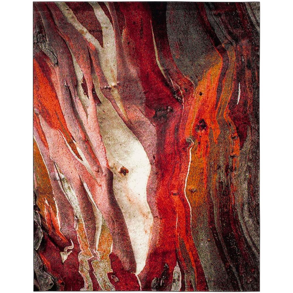 Loomed Tie Dye Design Area Rug Red