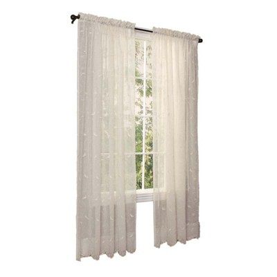 Commonwealth Home Fashions Habitat Hathaway Scroll Motif Embroidery Tailored Sheer Window Panel in Cream Color