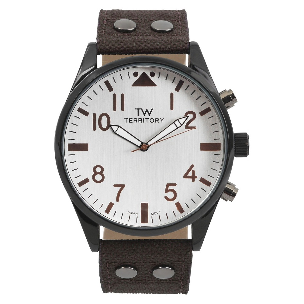 Men's Territory Large Round Face Canvas Fabric Strap Watch - Brown