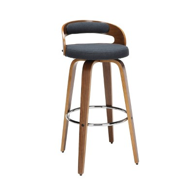 "30"" Low Back Bentwood Frame Mid-Century Modern Swivel Seat Barstool with Fabric Back and Cushion - OFM"