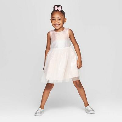 Toddler Girls' Metallic Ombre A-Line Dress - Cat & Jack™ Cream 12M