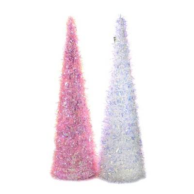 "Easter 24.0"" Iridescent Cone Trees Large Birthday Shiny  -  Decorative Figurines"