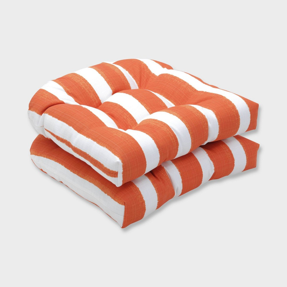 2pk Nico Marmalade Wicker Outdoor Seat Cushions Orange - Pillow Perfect
