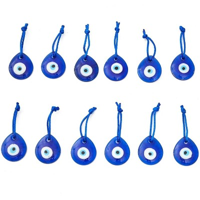 12 Packs Hamsa Evil Eye Glass Beads Charms for Décor Home Protection and Wall Hanging, Dark Blue