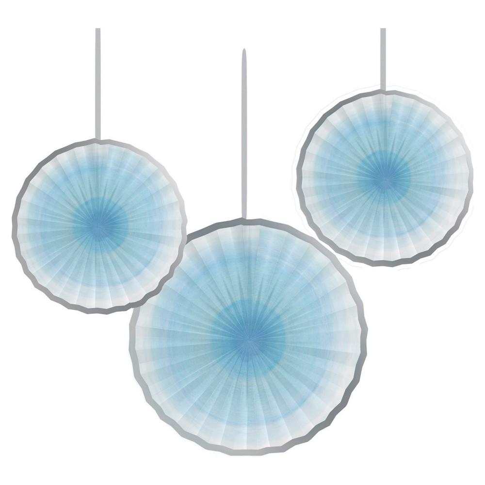 3ct Blue Paper Fan Décor Kit
