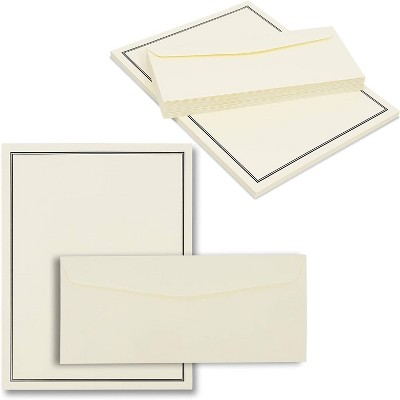Pipilo Press 48-Sheet Ivory Premium Stationery Paper with Black Border & 24-Count Envelopes for Invitations & Messages