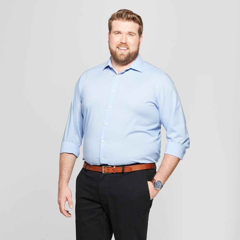 Men's Big & Tall Standard Fit Long Sleeve Button-Down Shirt - Goodfellow & Co Blue 4XB
