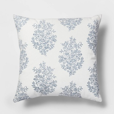 Square Block Print Paisley Pillow White/Blue - Threshold™