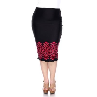 Women's Plus Size Pencil Skirt - White Mark