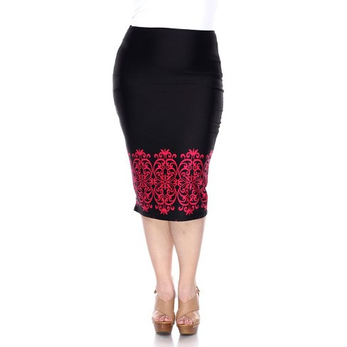 Women's Plus Size Pencil Skirt - White Mark - image 1 of 2