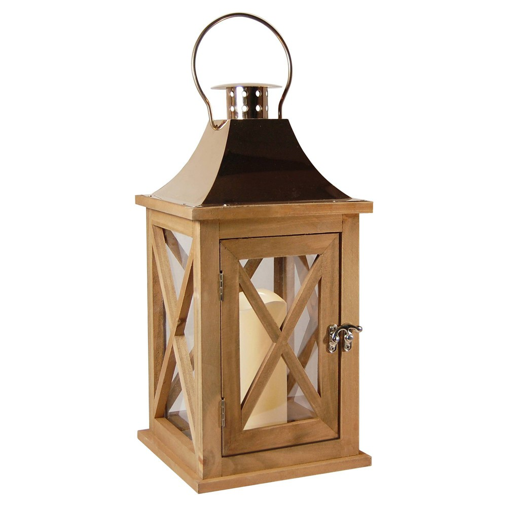 Image of Wooden LED Lantern With Copper Roof and Battery Operated Candle Beige - LumaBase