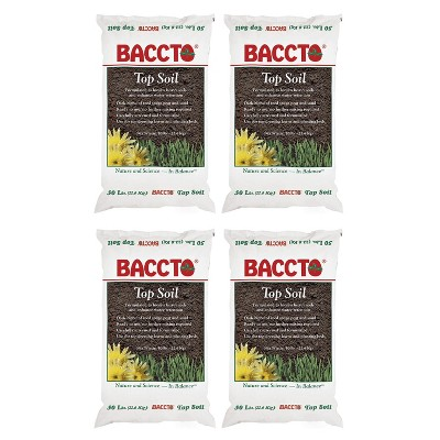 Michigan Peat 1550P Baccto Top Soil for Lawns, Gardens, and Raised Planting Beds with Reed Sedge, Peat, and Sand, 50 Pounds (4 Pack)