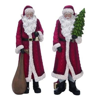 Transpac Resin 18 in. Red Christmas Sweater Santa  Set of 2