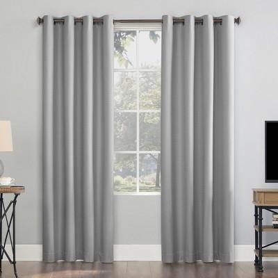 "84""x50"" Array Woven Dobby Draft Shield Fleece Insulated 100% Blackout Grommet Curtain Panel Sterling Gray - Sun Zero"