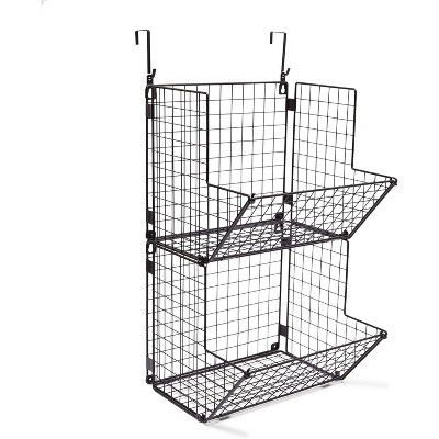 Farmlyn Creek 2-Pack 2 Tier Carbon Steel Hanging Fruit Basket for Kitchen Storage (11.7 x 12 x 21 in)