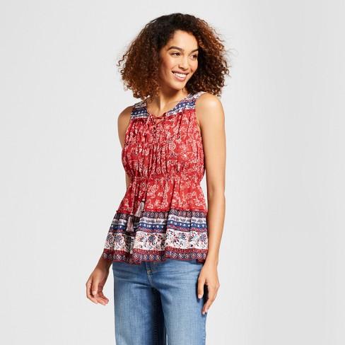 fb53bfb13b8d3e Women's Shirred Lace-Up Tank - Knox Rose™ Red Print : Target