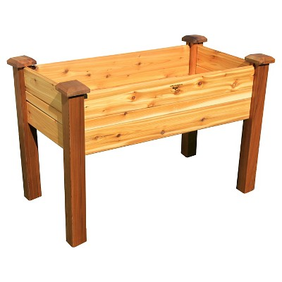 Elevated Rectangular Garden Bed with Safe Finish- Western Red Cedar - Gronomics