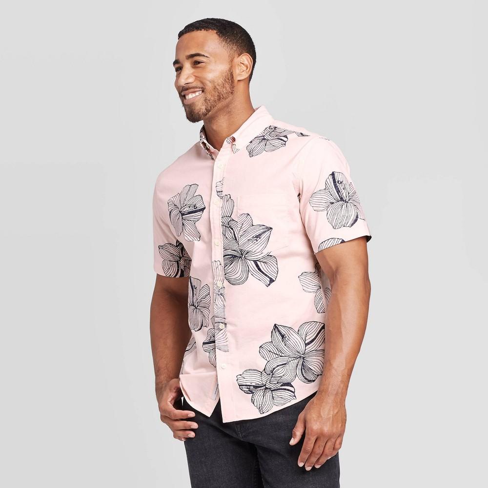 Men's Floral Print Slim Fit Short Sleeve Poplin Button-Down Shirt - Goodfellow & Co Pink L, Men's, Size: Large was $19.99 now $12.0 (40.0% off)