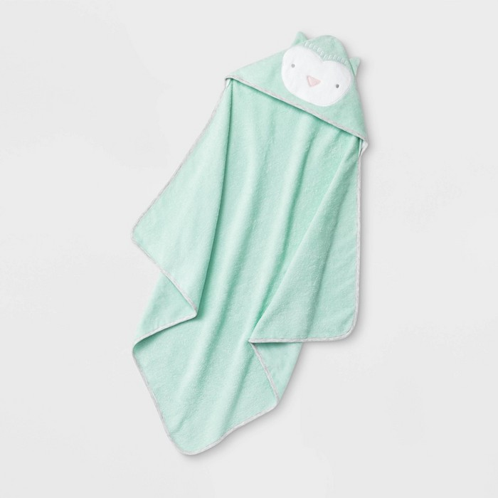Baby Owl Hooded Bath Towel - Cloud Island™ Mint Green One Size - image 1 of 2