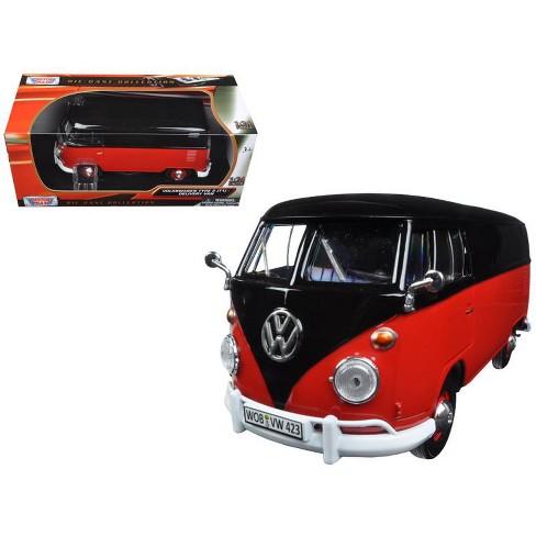 Volkswagen Type 2 T1 Delivery Van Black And Red 1 24 Cast Model Car By Motormax Target
