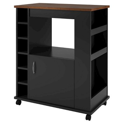 Clementine Kitchen Cart Black/Old Fashioned Pine - Room and Joy