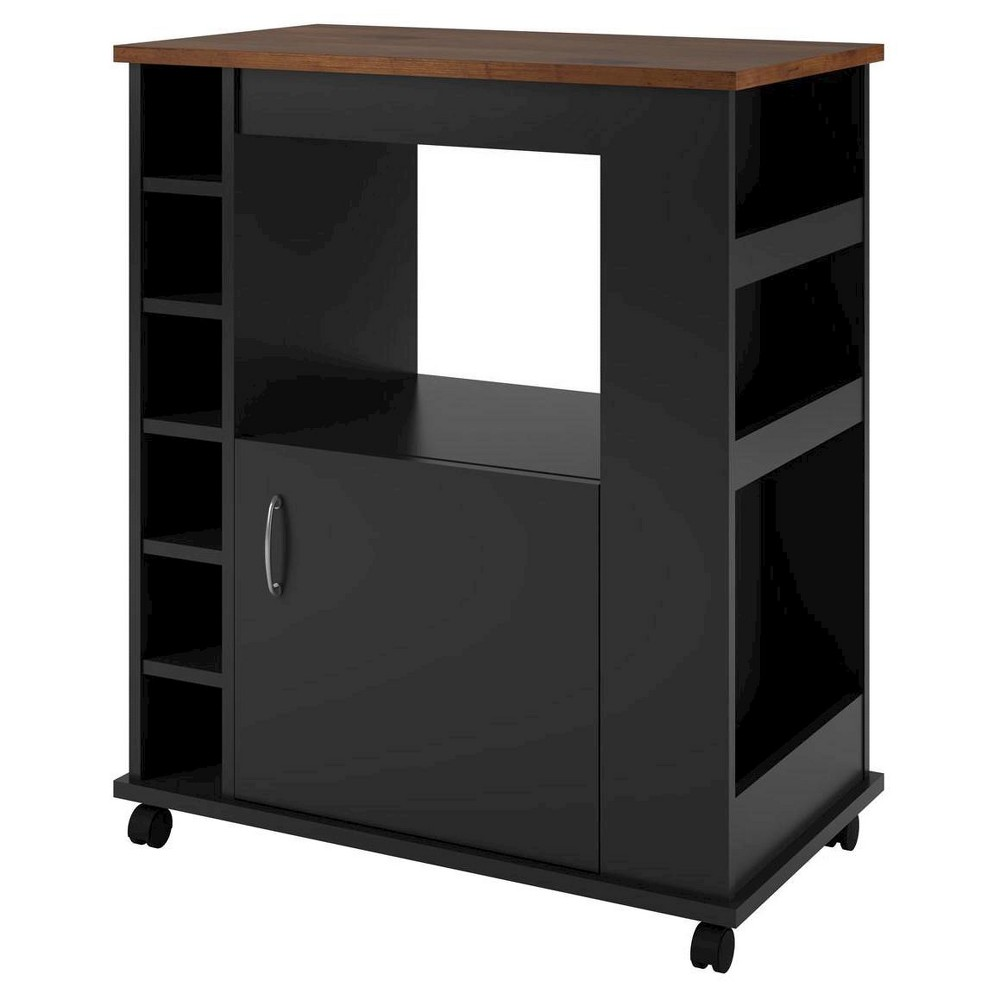 Image of Clementine Kitchen Cart - Black/Old Fashioned Pine - Room & Joy, Brown Black