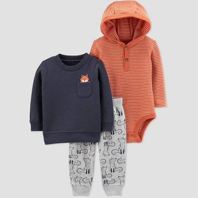 Baby Boys' 3pc Fox Critter Quilted Hooded Bodysuit Top & Bottom Sets - Just One You® made by carter's Orange/Gray/Navy 3M
