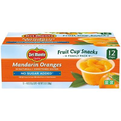 Del Monte Mandarin Oranges Fruit Cup Snacks - 48oz 12ct