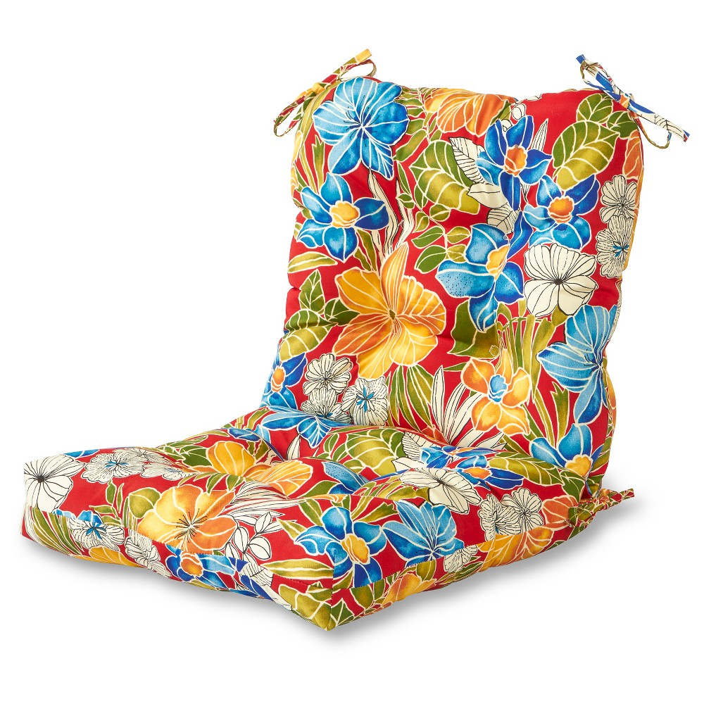 Image of Aloha Red Floral Outdoor Seat/Back Chair Cushion - Kensington Garden
