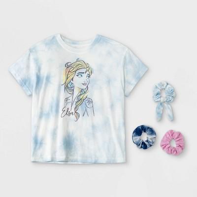 Girls' Disney Frozen Elsa Short Sleeve Graphic T-Shirt with Scrunchies - Blue