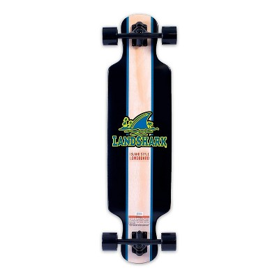Landshark Island Style Retro Wooden Longboard with 7 Inch Aluminum Trucks, Abec-7 Steel Bearings, a Contour and Concave Deck, and Deck Cutouts, Black