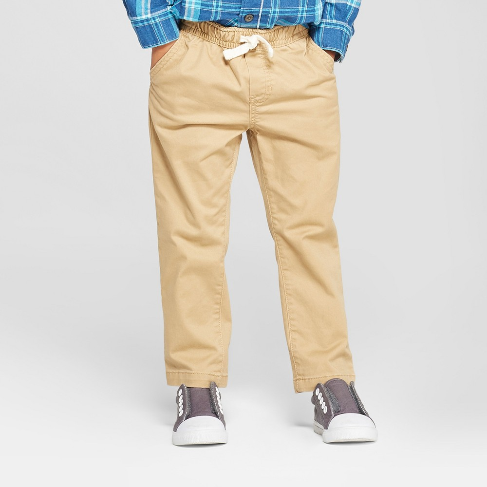 Toddler Boys' Elastic Waistband and Flexible Drawstring Chino - Cat & Jack Khaki Brown 18M