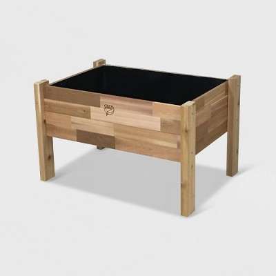 """22"""" Elevated Rectangular Garden Bed Planter With Fitted Liner Cedar - GRO Products"""