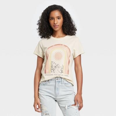 Women's Saguaro National Park Rainbow Short Sleeve Graphic T-Shirt - Light Beige