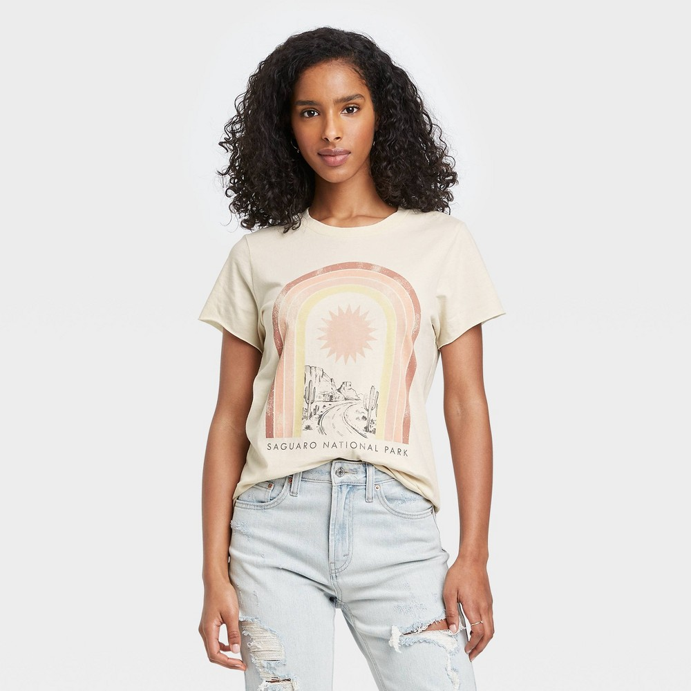 Women 39 S Saguaro National Park Rainbow Short Sleeve Graphic T Shirt Light Beige Xxl