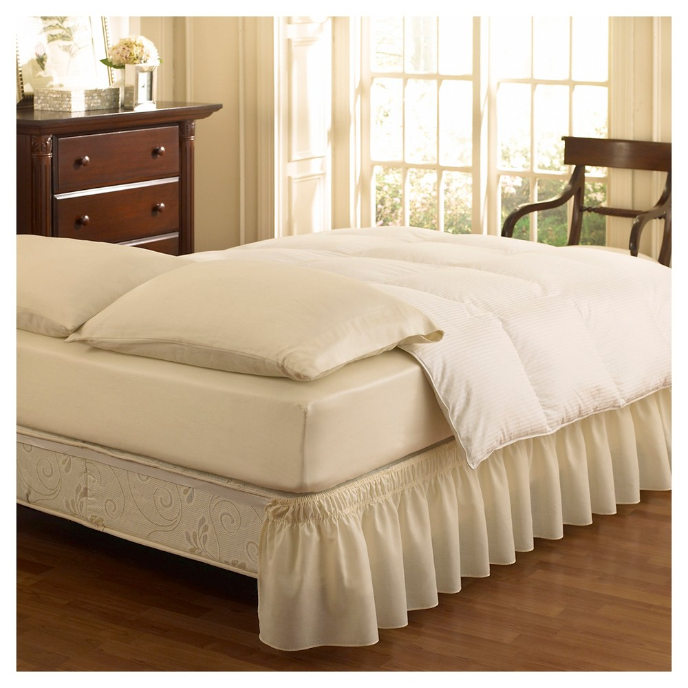 "Image of ""Ivory Wrap Around Solid Ruffled Bed Skirt (Queen/King) (80"""" X 60"""") - EasyFit"""