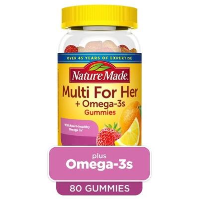 Nature Made Multi for Her + Omega-3 Gummies - Lemon, Orange & Strawberry