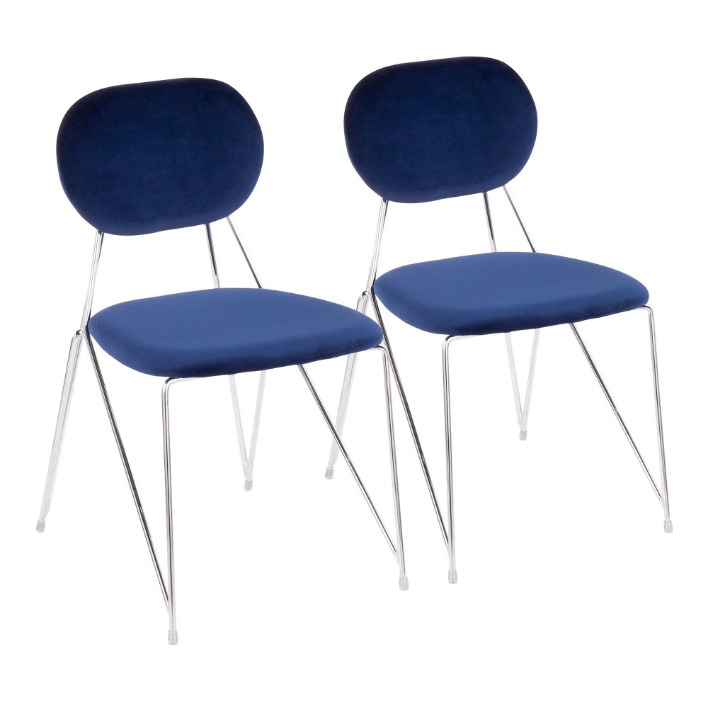 Set of 2 Gwen Contemporary Glam Chairs Blue/Chrome (Blue/Grey) - LumiSource