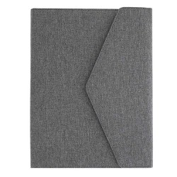 Grey Business Padfolio, Trifold Portfolio Folder with Pockets Holds Pens, Letter Size Papers, Files, Business Cards for Interview & Legal Document