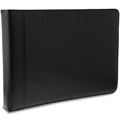 7 Ring Business Check Book Binder Checkbook Leather Portfolio Cover with Zipper Closure for Checks Notepads Organizer Business Card Holder, Black