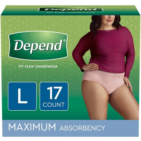 Depend Fit-Flex Incontinence Underwear Maximum Absorbency - Large - image 1 of 6