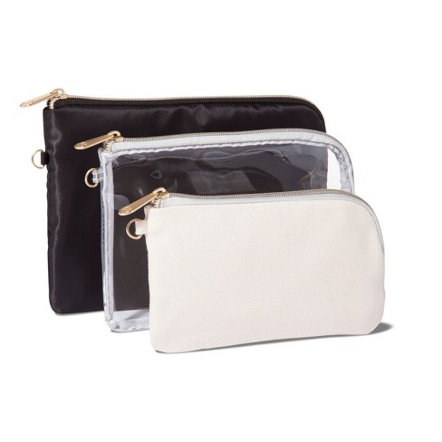 e3d67e5e48 Sonia Kashuk™ Purse 3pc Compact Makeup Bag Set - Black Clear   Target
