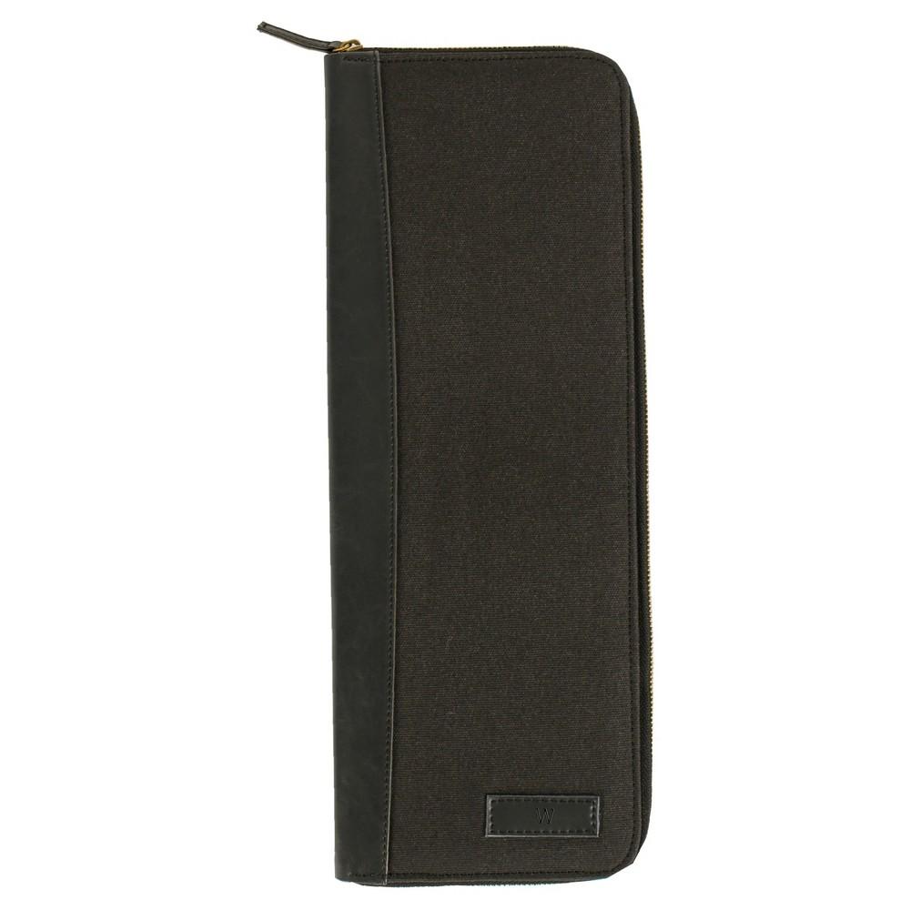 Monogram Groomsmen Gift Travel Tie Case Jewelry Box - W, Black