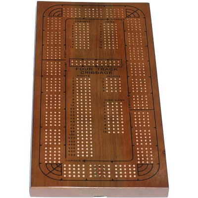 WE Games Classic Solid Wood, 4 Track Cribbage Board