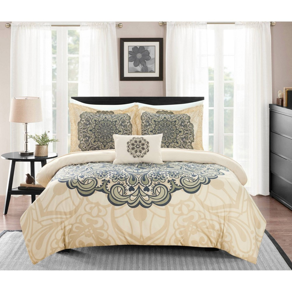 Twin Xl 6pc Fanny Bed In A Bag Duvet Set Beige Chic Home Design