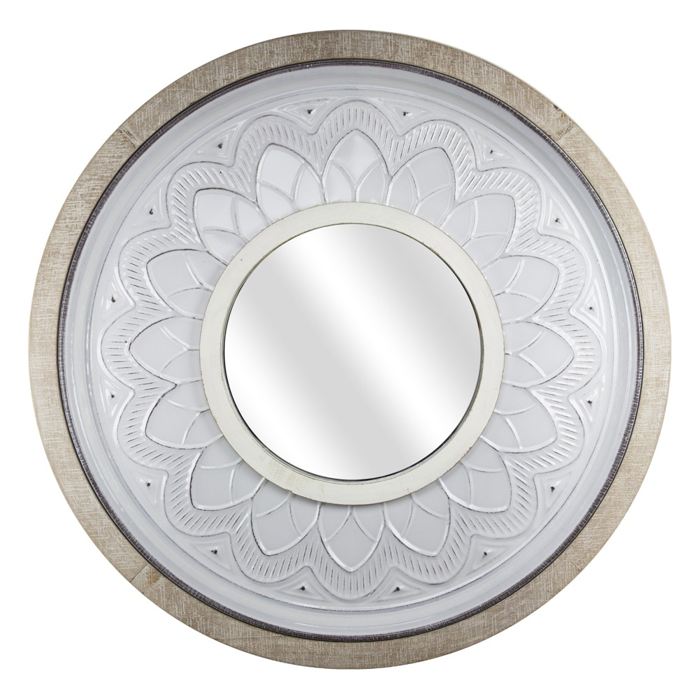 """Image of """"36.61""""""""x1.57""""""""x36.61"""""""" Round Metal And Wood Wall Mirror White - E2 Concepts"""""""