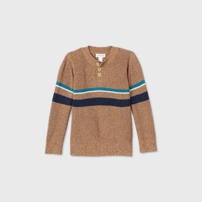 Toddler Boys' Striped Henley Pullover Sweater - Cat & Jack™ Brown