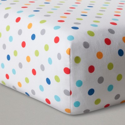 Fitted Crib Sheet Dots - Cloud Island™ - White