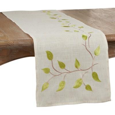 Saro Lifestyle Embroidered Vine Design Table Runner