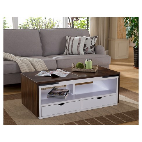 Karleen Two Tone Expandable Top Coffee Table Dark Walnut White Homes Inside Out Target